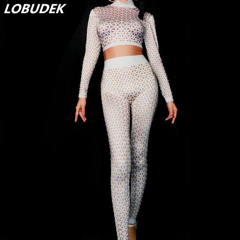 White Nude Printing Bling Crystals Jumpsuit Sexy Stretch lattice Bodysuit  Bar Female DJ Singer Costume Party Show Stage Outfits 834bb0c33e11