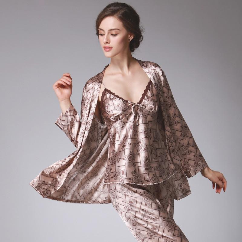 e639fc8f1a Detail Feedback Questions about SSH0194 Women Pajamas Autumn Full Sleeve  Nightwear Satin Silk Pants Pajama Sets Women Brand 3 Pieces Set Pyjamas Sexy  ...