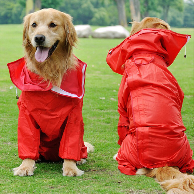 Large Dog Clothes Raincoat Waterproof Jacket Jumpsuit For Big Dogs