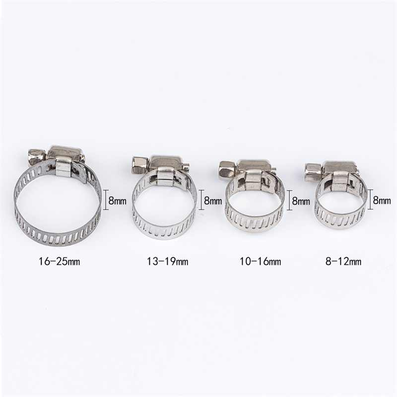 10pcs Stainless Steel Drive Hose Clamp Tri Clamp Adjustable Fuel Line Pipe Worm Gear Clip Clamp Tube Fasterner Clip