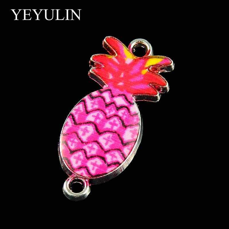10 ピース混合のためのファッションカラフルな素敵なパイナップルチャーム 2 穴コネクタ女性の少女 Diy の宝石卸売