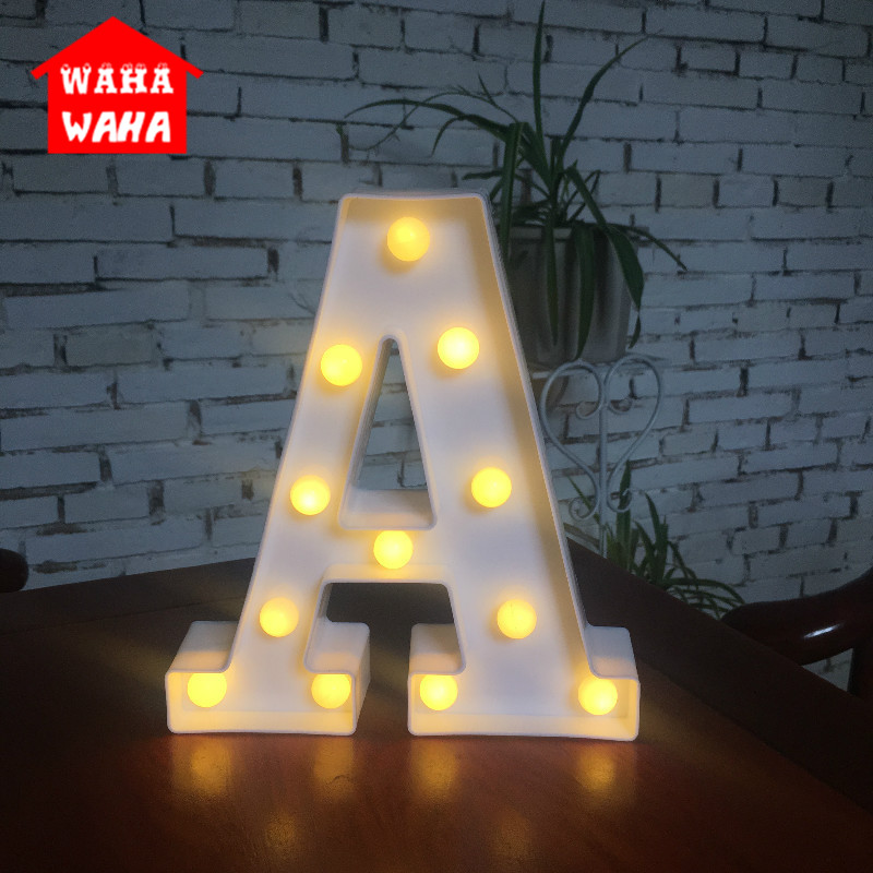 DIY White LED Letter Night Lamp Creative English Alphabet Number Battery Lamp Romantic Wedding Party Christmas Home Wall Decor