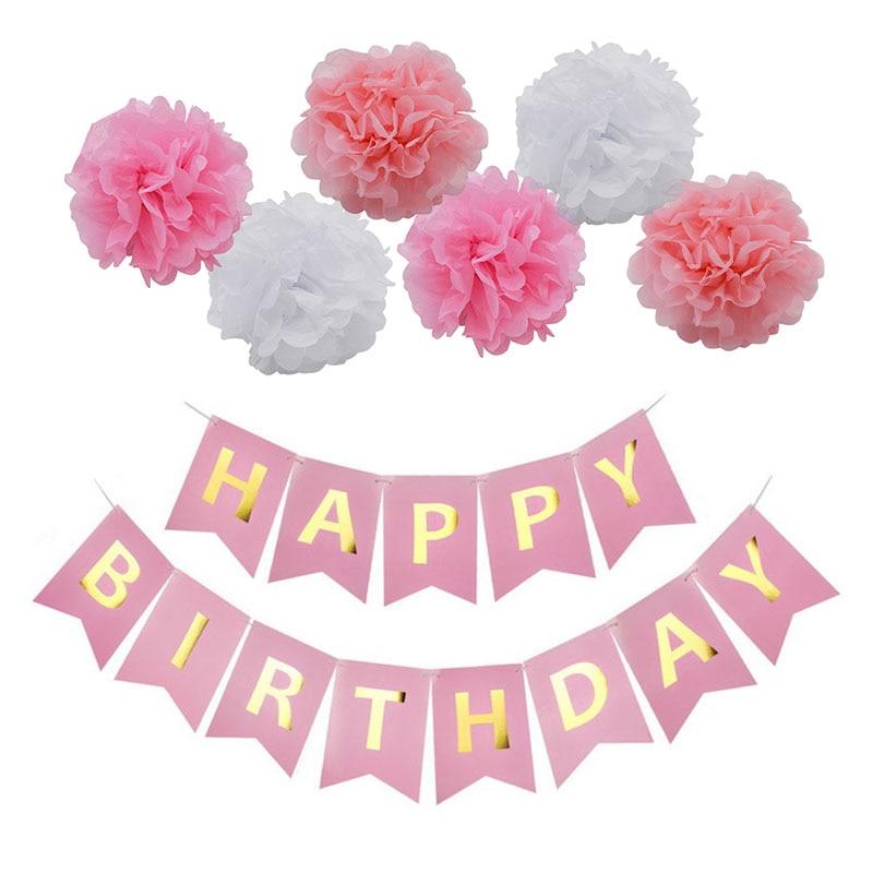 1set Happy Birthday Banner Hanging Bunting Paper Garland Tissue Paper Pom Pom Gold Letter Kids Birthday Party Decor Baby Shower