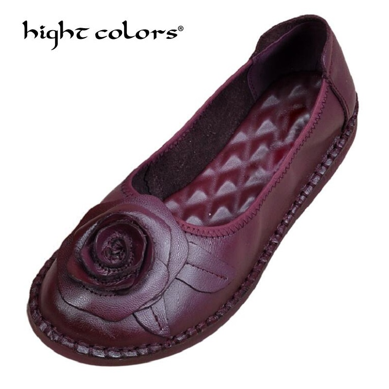 Women Loafers Shoes Retro Nation Style Lady Shoes 2018 Spring Autumn Round Toe Genuine Leather Flat Slip On Sizes 35-40 2018 brand new spring men slip on shoes breathable shoes british style shoes loafers genuine leather flat shoes wa 03