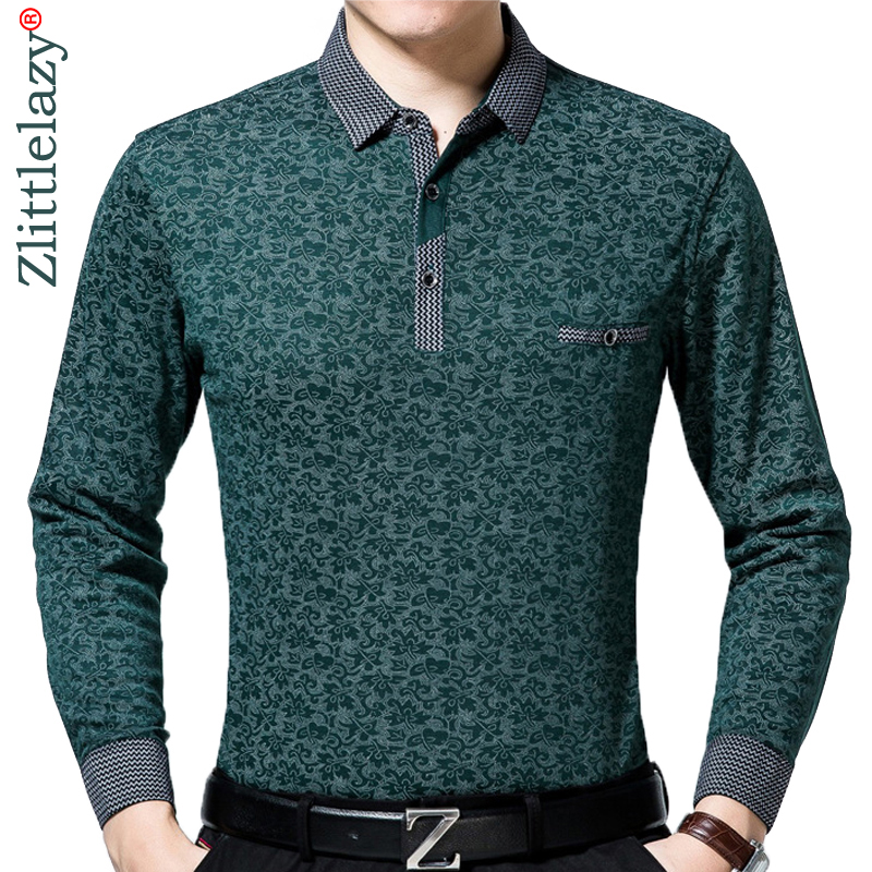 2018 brand long sleeve fitness   polo   shirt men camisa masculino casual floral   polos   shirts mens poloshirt clothing jersey 83894