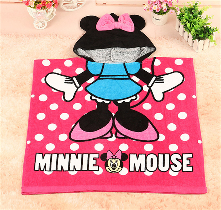Disney Cartoon Minnie Mouse Cotton Towel Cloak Child Kids Boy Girl Hooded Can Wear Beach Towel Blanket Mat Handkerchief Towel