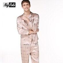 Мода весна 100% шелк мужские пижамы Пижамы С Длинным рукавом печать мужской пижамы наборы для мужчин простой последовательной шелковые пижамы мужчин