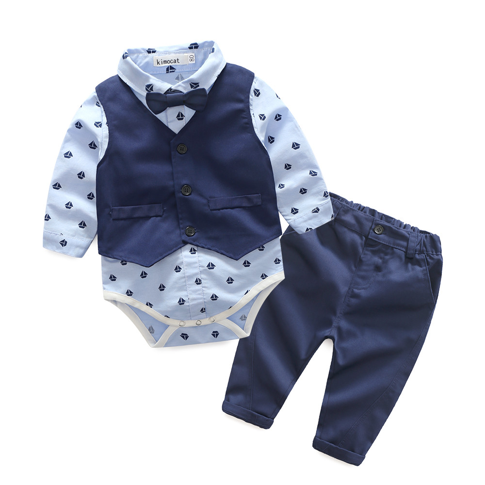 Free Shipping 3Pcs Infant Toddler Baby Boys Print Tops Romper +Vest+Pants Outfits Clothes Set Fashion Clothe For 6-24 Months toddler kid baby girl clothes set 3 pcs infant off shoulder blouse tops denim hole pants jeans headband outfits clothes