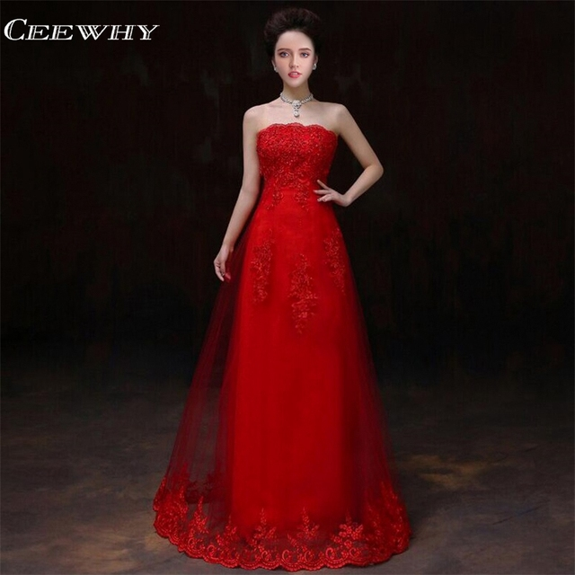 CEEWHY Chinese Style Strapless Lace Up Embroidery Vestido Madrinha Wedding  Party Dress 2018 Formal Gown Red Bridesmaid Dresses eeb7e95dec87