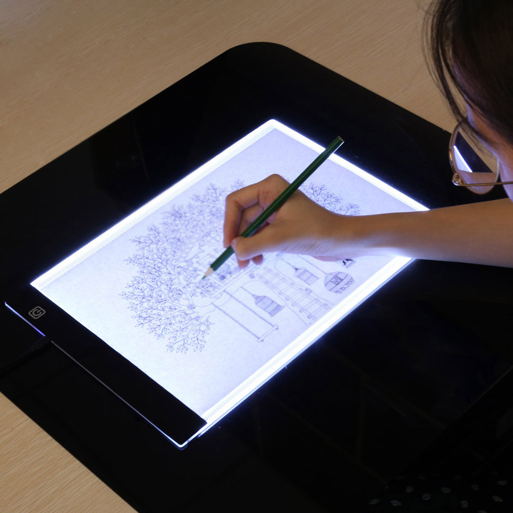 Graphic Tablet LED Lighted Drawing Board Ultra A4 Drawing Table Tablets Light Pad Sketch Book Blank Canvas For Painting