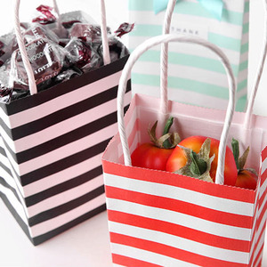 Image 3 - 5pcs Small Gift Bag with Handles Red Black Striped Paper Box Bag for Gift Packing Mini Candy Bag Birthday Party Decoration