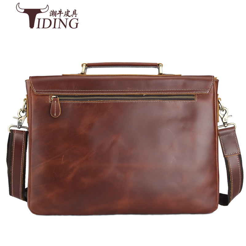 "Genuine Leather Men's Fashion Business Briefcases Laptop Handbag Messenger Bag 15"" Laptop bags Male Cow Leather Crossbody Bags"