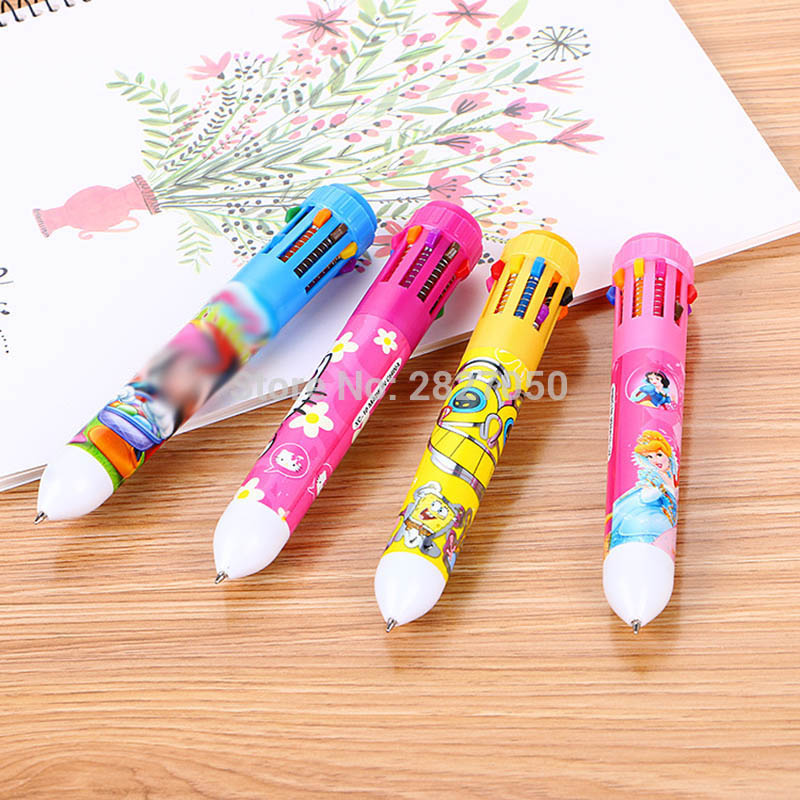 10 Colors Kawaii Cartoon Ballpoint Painting Pen Baby Learning Drawing Toys For Children Drawing Pen One Piece