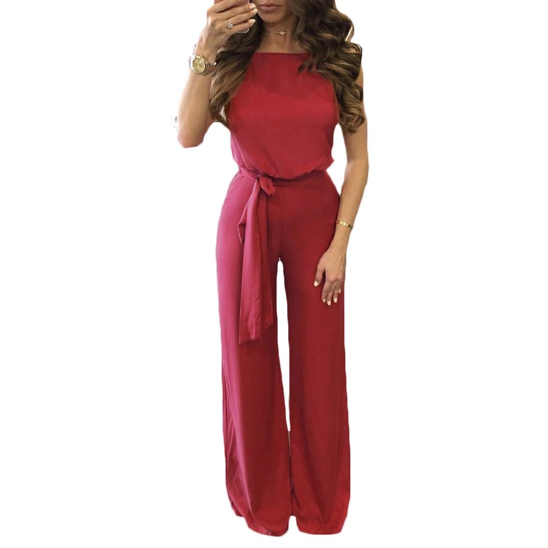 Summer Backless Office Jumpsuit Women Romper Sleeveless Long Playsuit 2017 Fashion Solid Color Burgundy Overalls Jumpsuit Femme