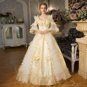 100%real champagne lace vintage long ball gown medieval dress Renaissance Gown queen dress Victorian cosplay ball gown Belle