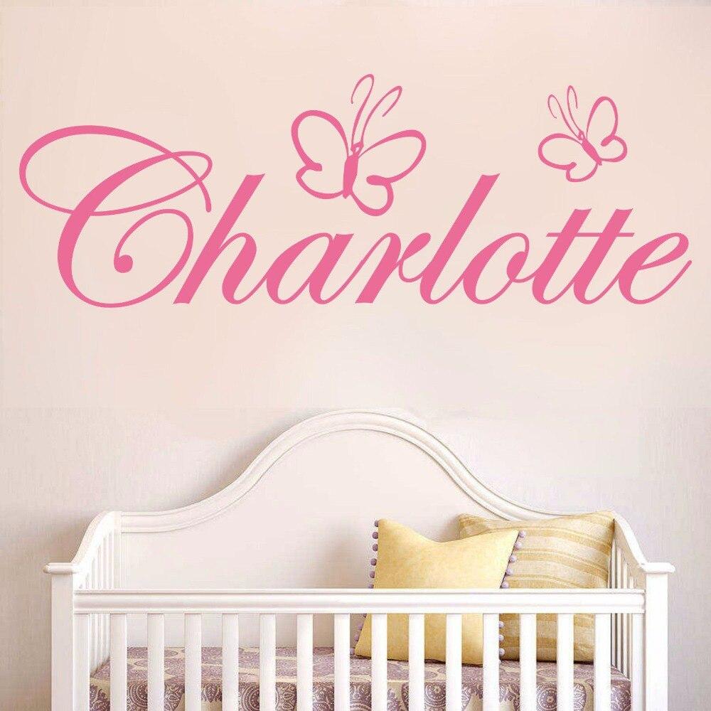 Custom Name Butterfly Girls Bedroom Decor Wall Art Sticker Nursery Kids  Room Removable Wall Decor XX111