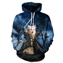 3D Print Hobbit Meower Cat Warrior Hoodies Men/Women Sweatshirt Hooded Casual Loose