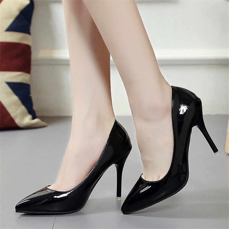 2019 neue Frauen Pumps Schwarz High heels 7,5 cm Dame Patent leder Dick mit Herbst Zeigte Einzelne Schuhe Weiblichen Sandalen große 33-43