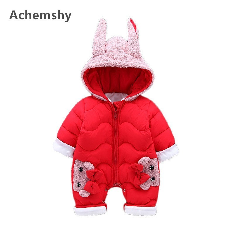 Winter New Infant Velvet Thickening Teddy Dog Hooded Romper Kids Boys Girls Warm Jumpsuit Baby Outwear Clothes