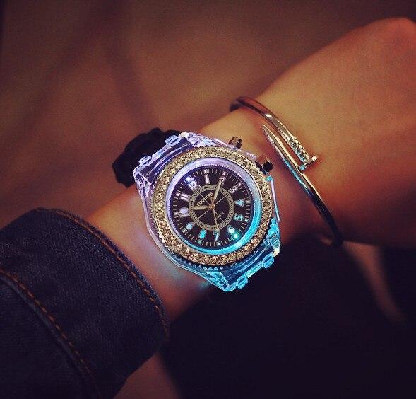The Unique Design Luminous Watch Women , Fashion Rhinestone LED Watch Women , Outdoor Sports Watch Women