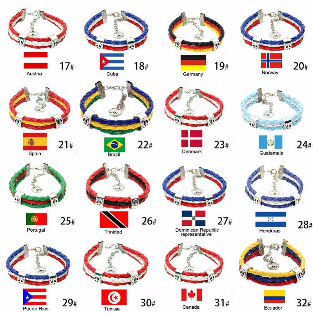 1 St 17-32 Types Trendy Weven Armband Super Football Match Leerachtige Armband Vlaggen Armband #269914