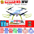 Syma x5hw 6-axis fpv rc quadcopter drone com câmera wi-fi 2.4g rc helicóptero quadrocopter toys vs syma x5c x5sw com 5 bateria