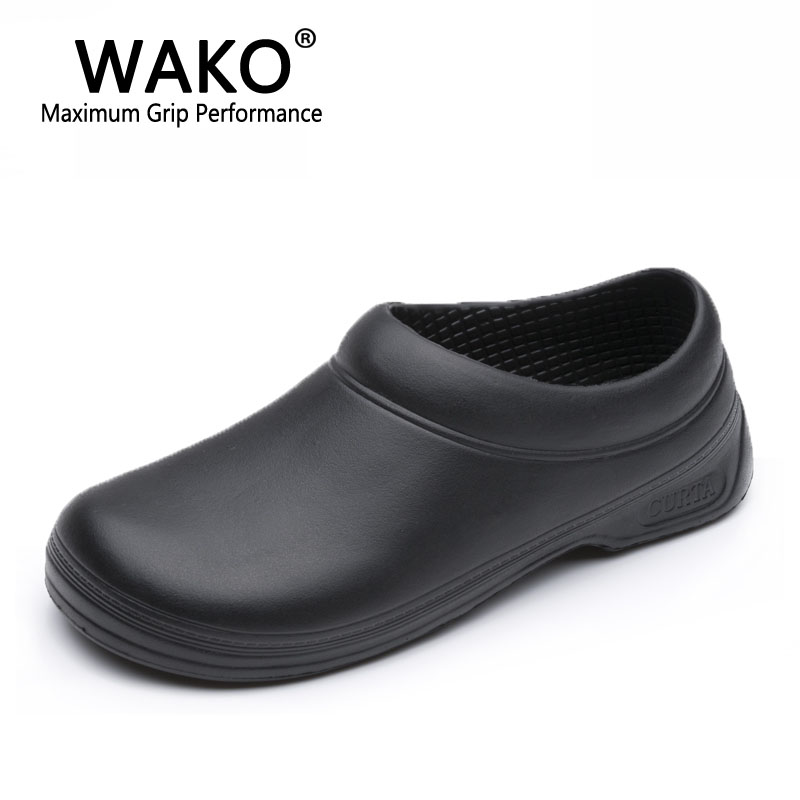 WAKO Men Chef Shoes Male Sandals for Kitchen Workers Super Anti-skid Man Non Slip Shoes Black Cook Shoes Safety Clogs Size 36-45 slip-on shoe