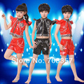 Childrens Day Boyes and Girls Modern Fashion Soft Leather Jazz Dance Costume Chains Dance Wear Performance Clothes Top short