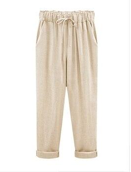 Casual Linen Pants Women Plus Size 6 XL Loose High Waist Ankle-Length Pants Trousers OMW07 1