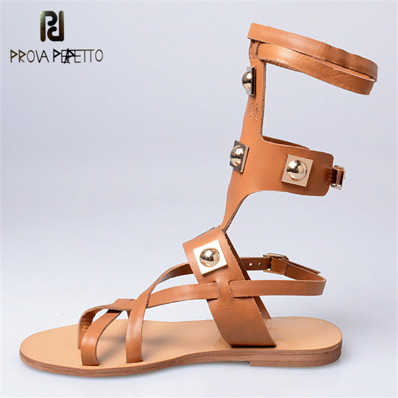 Prova Perfetto Rome Fashion Show Summer Cow Leather Casual Sandals Boots Buckle Hollow Out Solid Color Women Necessary Sandals fashionable women s sandals with platform and hollow out design