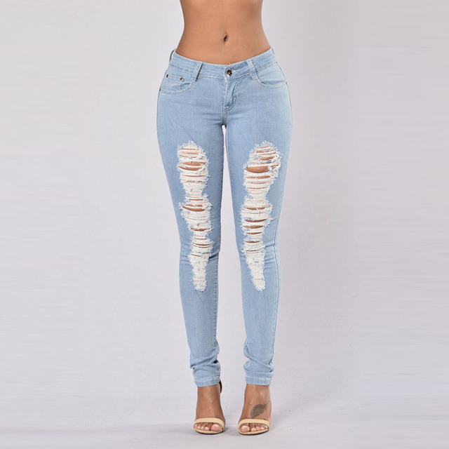 859143a5b82 Women Ripped Jeans Skinny Jeans Mid Waist Boyfriend Stretch Jeans Plus Size  Hole Denim Pencil Pants Blue Denim Pants Female XXXL