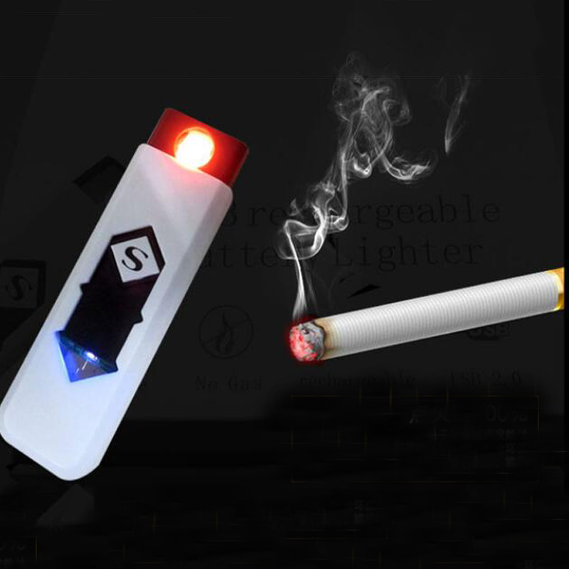 USB Recharge Lighter Cigarette Smoking Electric Lighter 15 colors Classic Inovation Double arc Lighter Windproof Electronic