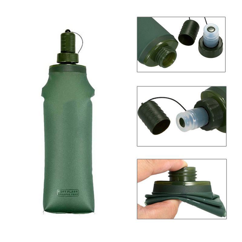 250ml 500ml TPU Outdoor Sport Bottle Hydro Soft Flask Collapsible Drink Water Bottle for Running Camping Hiking Bicycle Fitness