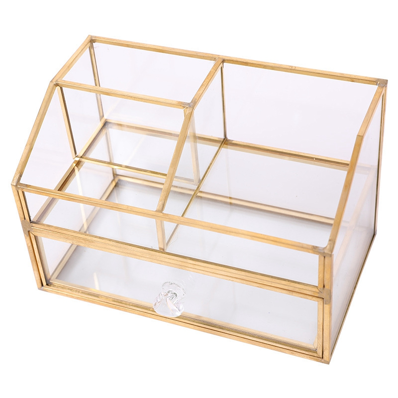 Nordic Metal Glass Cosmetic Storage Box Drawer Organizer Desktop Dust Proof Cotton Swab Tissue Box Dressing Table Shelf Decor(China)