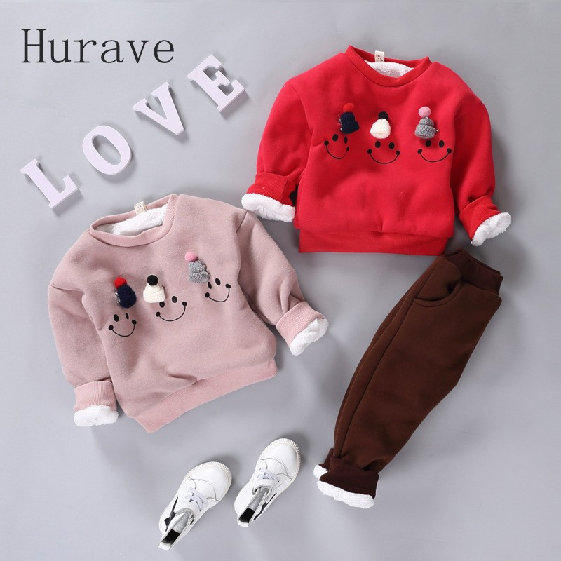 Hurave Children Sets Baby Girls& Boys Clothing Set Thick Warm Cute Suit Kids Winter Long Sleeved Coat+Pants kids clothes set autumn winter girls children sets clothing long sleeve o neck pullover cartoon dog sweater short pant suit sets for cute girls