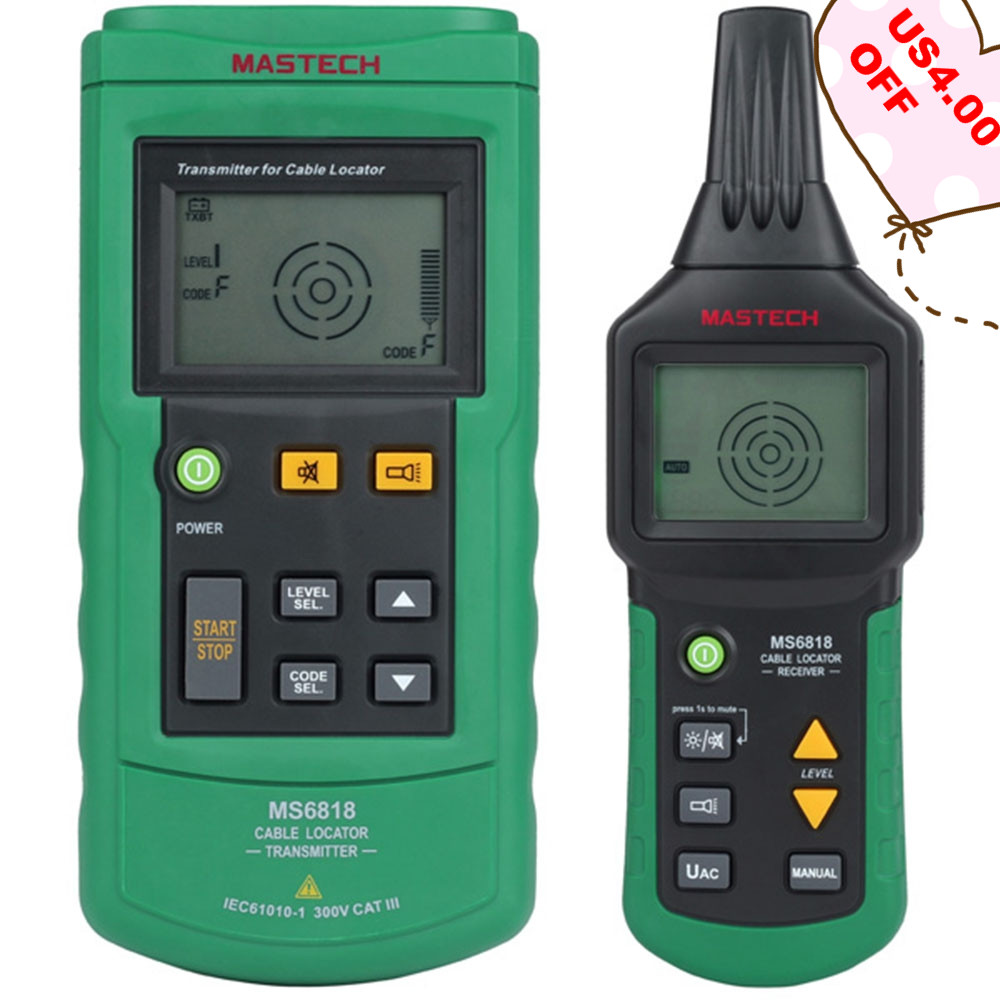 MASTECH MS6818 Cable Tester Digital Advanced Cable Tracker Wire Tester Multi-function Wire Tracker 12~400V Pipe Locator Meter CE
