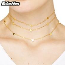 Enfashion Geométrico Triángulo Círculo Estrella Gargantilla Collar de Oro Colgantes de Los Collares Mujeres gargantilla Joyería Collar de Acero Inoxidable