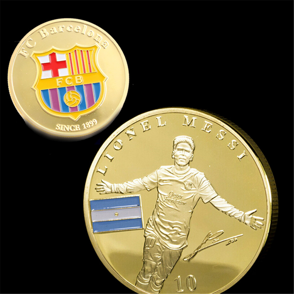 1 Pc Football Football Superstar Lionel Messi commémorative Collection de pièces cadeau Football joueur or pièces de Collection nouveau