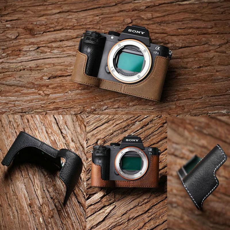 Mr. Stone Handmade prawdziwej skóry skórzany futerał do aparatu dla Sony A7II A7 Mark 2 A7R2 torba na aparat pół okładka Vintage przypadku w Torby na aparaty/kamery od Elektronika użytkowa na AliExpress - 11.11_Double 11Singles' Day 1