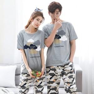 Image 3 - Summer Short Sleeve Cat Pyjamas Lovers 100%Cotton Couple Pajama Sets Women/Men Sleepwear Striped Nightgown Big Size Home Clothes