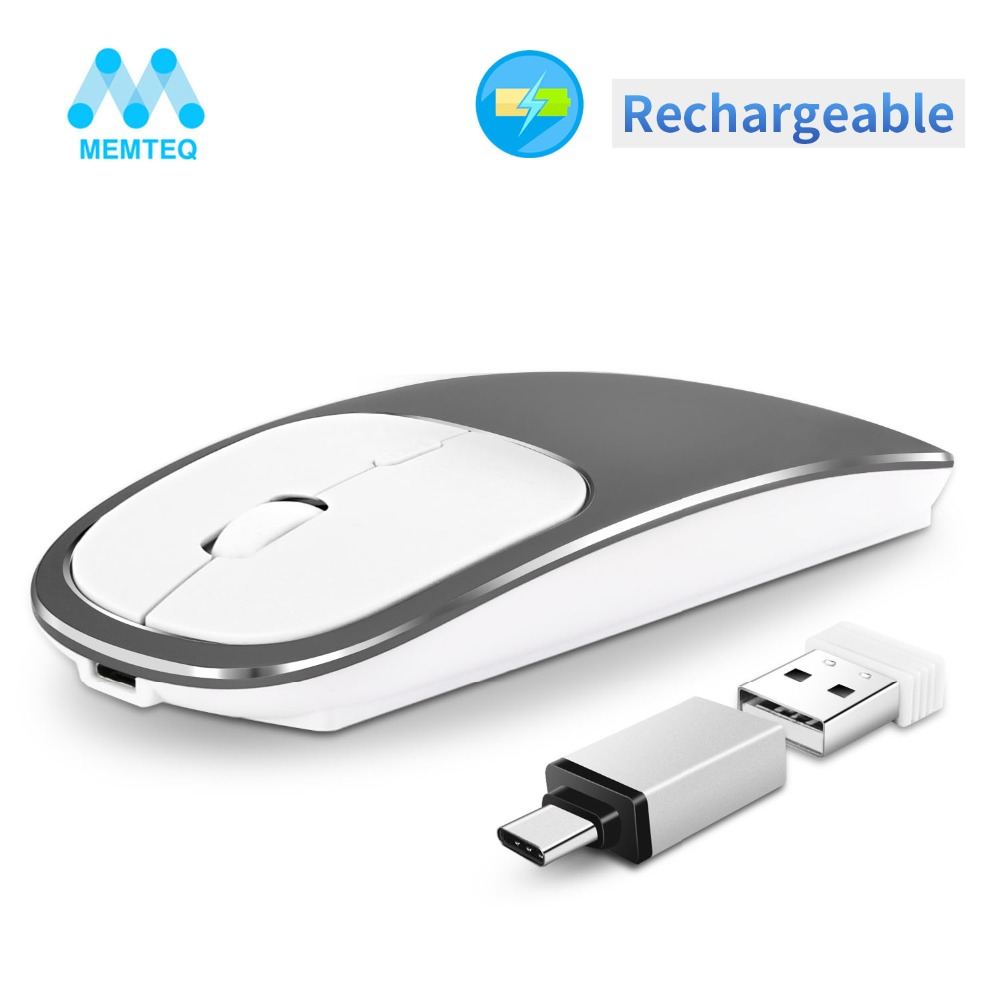 MEMTEQ Rechargeable Wireless Mouse Metal 2.4G Noiseless Silent Click Optical with USB Receiver for Notebook PC