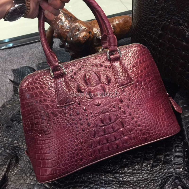 100% Real/Genuine Crocodile Skin Womens Tote bag Handbag shell zipper closure, luxury alligator skin lady shoudler bag promotion stylish women s tote bag with clip closure and crocodile print design