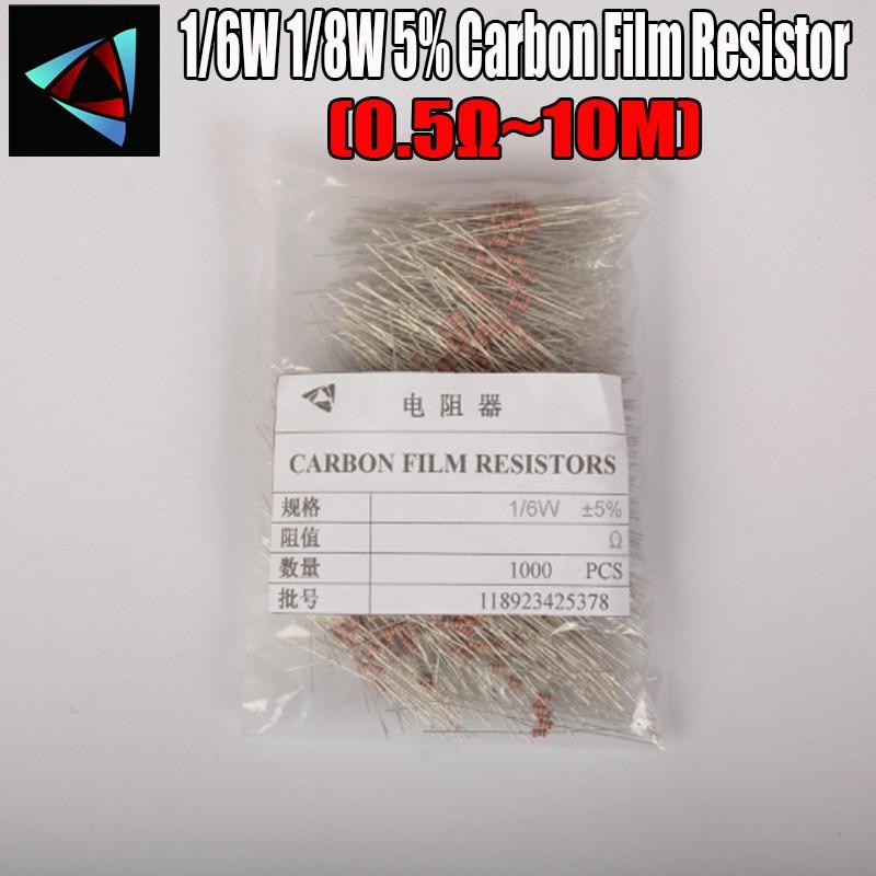 1000pcs 1/8W 0.125W 1/8W=1/6W 5% Carbon Film Resistor 0.5R ~ 10M 100R 220R 330R 1K 2.2K 3.3K 4.7K 10K 22K 47K 100K 10M  Ohm