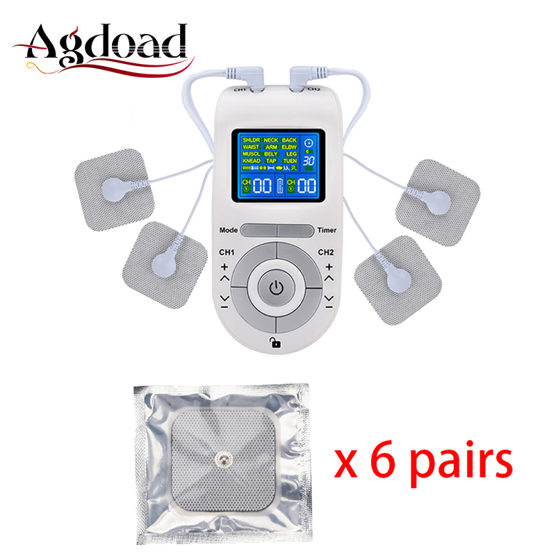 Electroestimulador Muscular 12 Modes Tens Unit Electric Body Pain Relief Massage Machine 4 Electrode Pads Tens Machine Cables