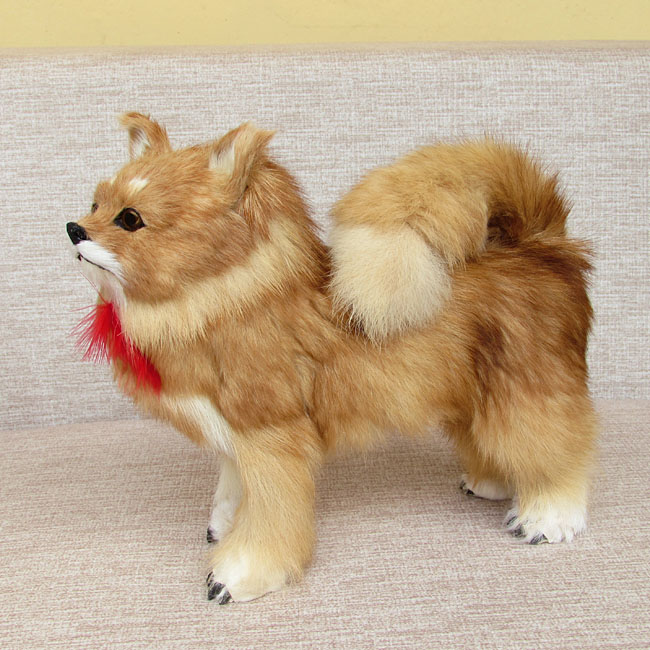 simulation dog large 28x25 cm furry fur Pomeranian model decoration gift h1326 simulation pomeranian dog 29x25cm hard model polyethylene