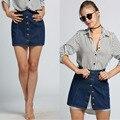 Moda Feminina Cintura Alta Botão-Down Denim A Linha de Mini Saia