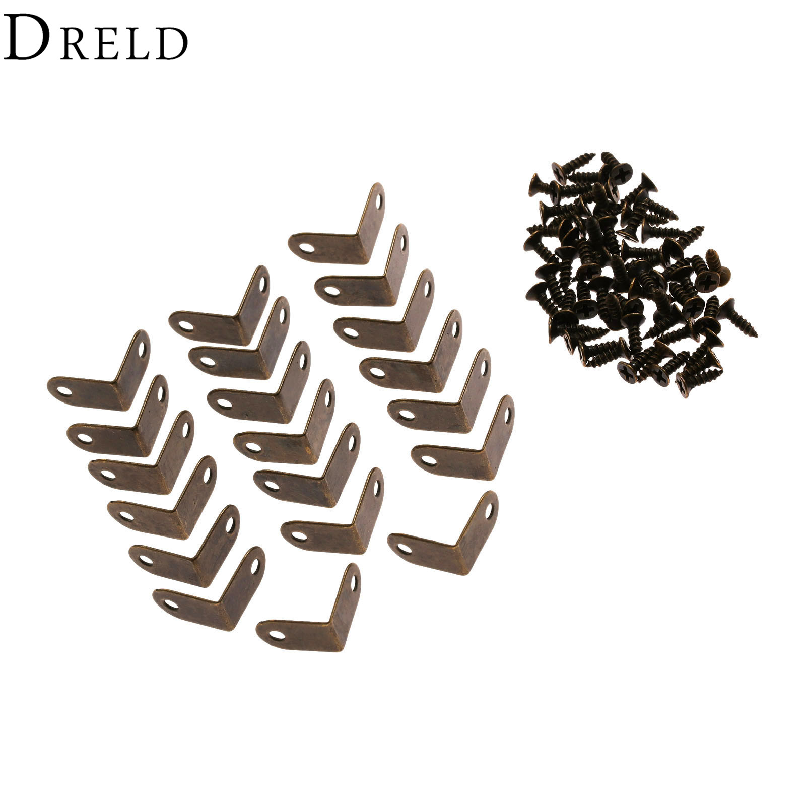 DRELD 20Pcs Iron Decorative Antique Jewelry Wine Gift Box Wooden Case Corner Protector Guard Bronze Decorate Your Desk 15*9mm
