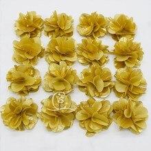 20 metros/260 pçs/lote decorativo brilhante da flor do ouro para o vestuário fantasia cor dourada chiffon pétalas de flor crianças cabelo acessórios