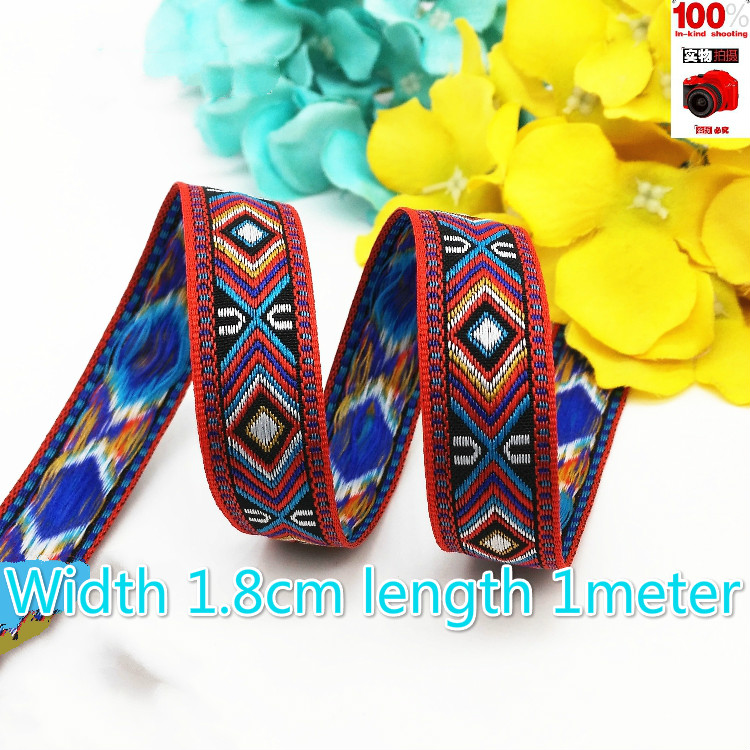 Ribbons Diligent Selling 1.8cm Width Boho Chic Jacquard Webbing Ethnic Ribbon Embroidery Style Trim Accessory For Bag Garment Width Long 1meter