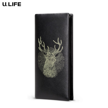 High Quality Brand Genuine Leather Leisure Men Long Wallet Card Holder Cow Leather Business Deer Pattern Male Purse Fashion J40 дега 4 магнитные закладки